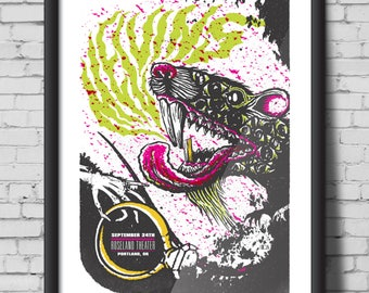 MELVINS screen print gig poster - Portland, Oregon 2010, green, rat, pink, ring, skeleton, teeth, poster, print, art, screen print