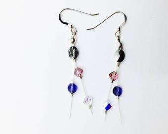Multi-colored Swarovski crystal earrings, sterling silver, prism earrings, gift for her, under 20