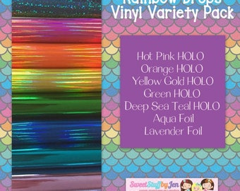 Rainbow Drops Mirror Vinyl-Marine Vinyl-Glitter Vinyl-For EMBROIDERY MACHINES-Doll Making-Hooded Towels-Feltie Supply-Play Food