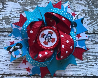 Baby Girls Layered Minnie and Mickey Hair Bow Clip..Minnie Mouse Hair Bow Perfect for Disney Cruise Inspired Birthday party