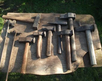 Set of 10 Antique Blacksmith's swage hammers struck tools used condition