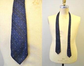 1950s Blue and Black Silk Necktie