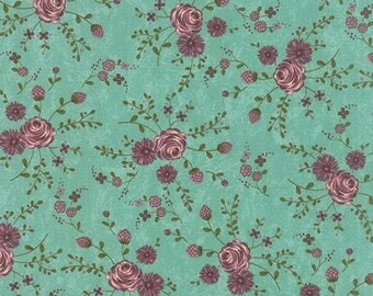 ON SALE Moda Fabric PRINTS Charming by Sandy Gervais Teal With Berry Floral 17842-14