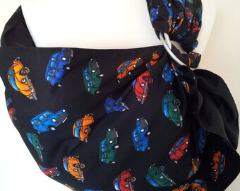 Baby Ring Sling Carrier / Sling / Carrier / Reversible / Unpadded / Beetle Fun with Black