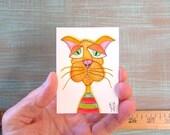 Kitty-J65, Original AEO Watercolor, Art Card, Miniature Painting, by Fig Jam Studio