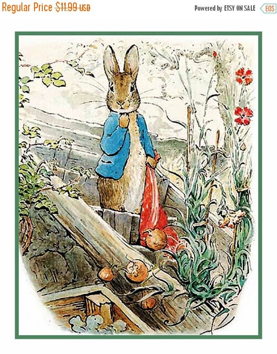 GREAT SALE Peter Rabbit carrying onions in Red Handkerchief by Beatrix Potter Counted Cross Stitch Chart / Pattern FREE Shipping