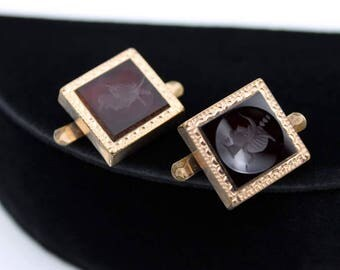 Victorian Intaglio Cuff Links with Unusual Clip Hardware - 1883 Patent