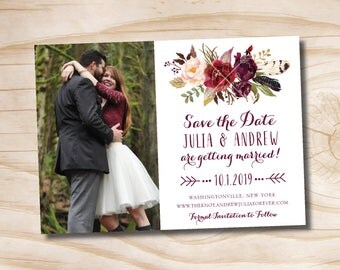 Fall Watercolor Floral Wedding Invitation Save the Date  - Printable digital file or printed invitations
