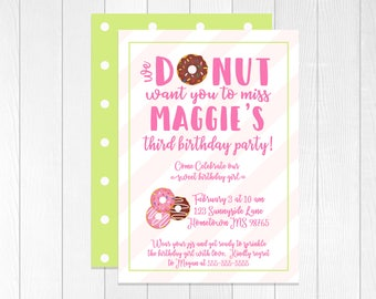 Donut Birthday Invitation, Pink and Lime Green Polka Dots | Donut Miss This Party | Sweet Birthday Girl | Invite | Envelopes Included