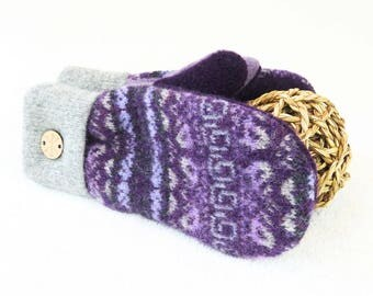 Wool Mittens PURPLE & GRAY Grey Fair Isle Felted Sweater Wool Mitts Lavender Fleece Lined Mittens Eco Gift Under 50 for Women by WormeWoole