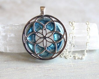 ice blue seed of life necklace, sacred geometry, spiritual jewelry, meditation jewelry, chakra necklace, yoga jewelry, unique gift