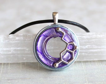purple serotonin molecule necklace, science jewelry, chemistry necklace, scientist necklace, teacher gift, mental health, happiness hormone