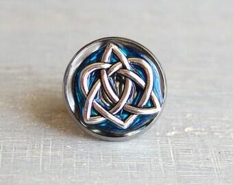 sky blue celtic knot tie tac, mens jewelry, groomsmen gift, wedding jewelry, Irish wedding, anniversary gift, Scottish wedding