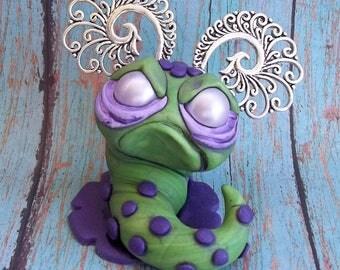 Gus the Grumpy Worm, polymer clay sculpture figurine,original art,collectible,desk buddy Covington Creations