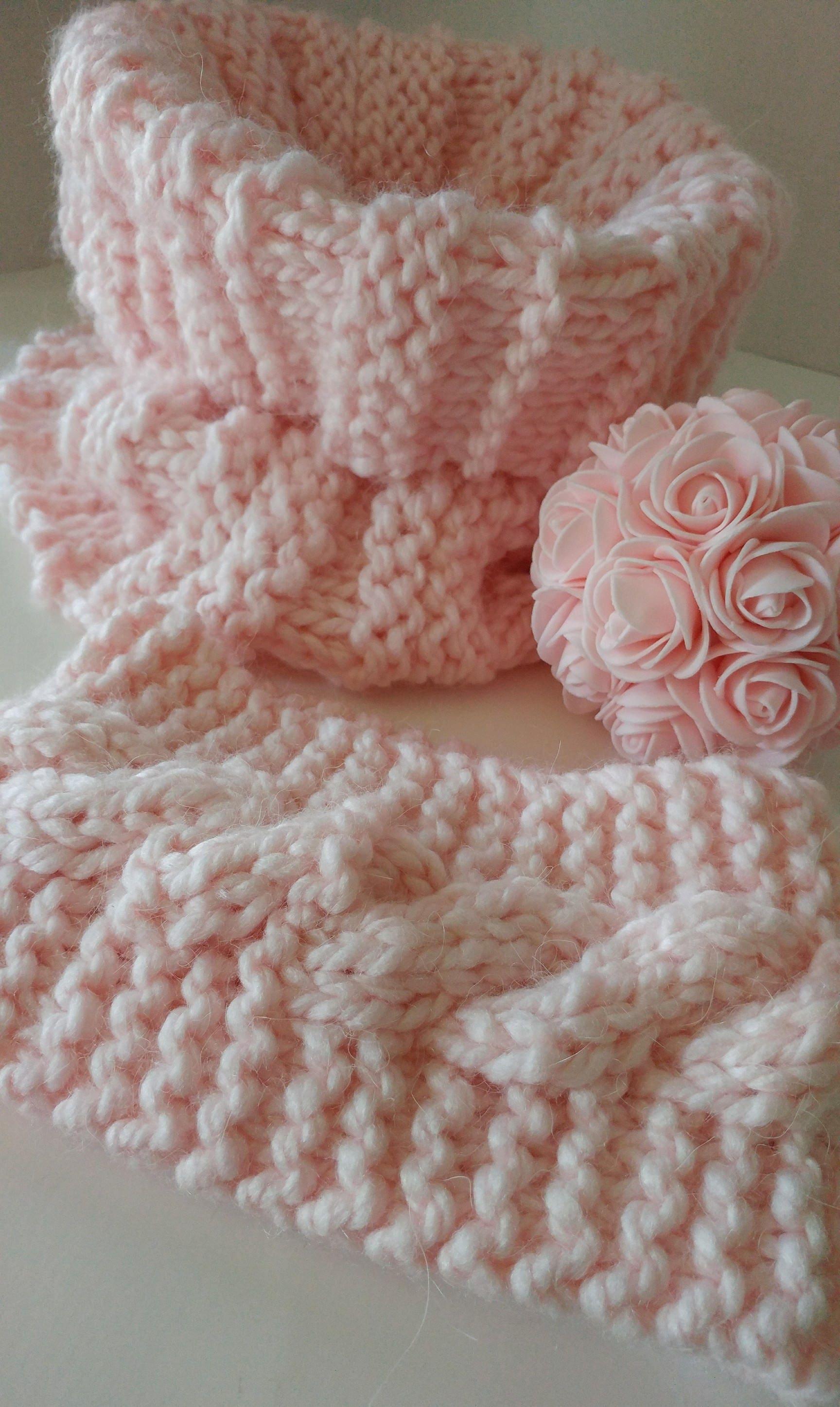 Chunky Alpaca yarn, Cowl with matching Cable Knit headband, chunky ...