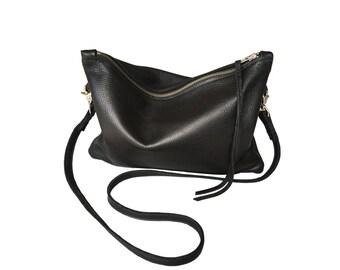 Zipper clutch - Black leather bag - Across the body bag - crossbody bag - black leather - zippered clutch - black clutch - men leather bag