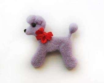 """A felt brooch - """" Purple poodle"""""""
