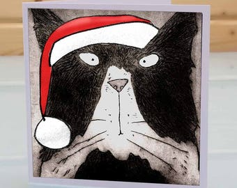 Tom Cat Christmas Card - Black and white Tom cat christmas card, cat lover christmas card, cat xmas card, funny fun cat christmas card