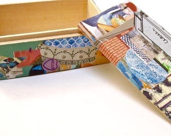 Small Collaged Wooden Box Container