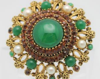 Emerald Green and Topaz Karu Signed Vintage Brooch