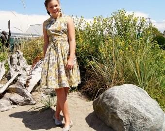 1950's Sheer Yellow Daisy Print Dress