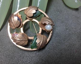 "Vintage 1 1/2"" Goldtone Round Wreath Multi Stone Beaded leaf Pin Sarah Coventry"