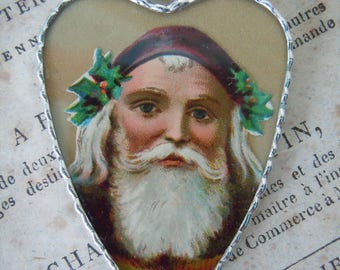 Fiona & The Fig - Antique Victorian - Circa 1885 - Die Cut Scrap - Christmas - Santa Claus - Soldered Charm - Necklace - Pendant-Jewelry