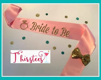 Blush and Gold bride to be sash more colors too bride sash mint and gold theme mint and gold theme party sash bridal shower sash bachelorett