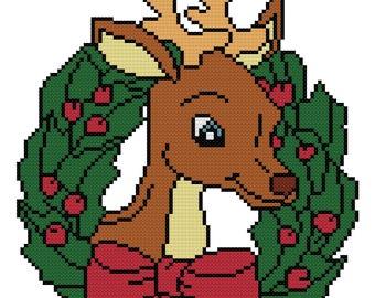 Reindeer Wreath Cross Stitch Pattern