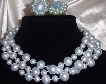 Vintage necklace and earring set Long necklace and beaded cluster earrings  shimmering blue beads
