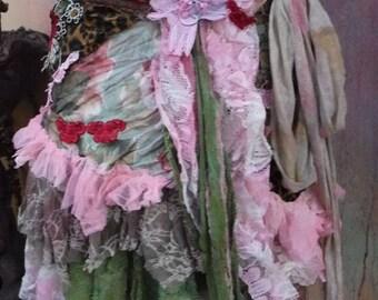 20%OFF bohemian skirt, boho skirt, woodland skirt, tattered skirt, wrap skirt, mori girl, gypsy, hippy, wildskin, shabby skirt, bridesmaid,