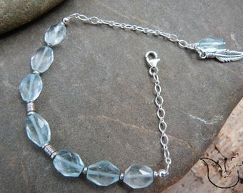 Faceted aquamarine and silver bracelet