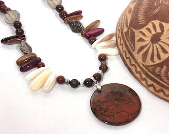 Earthy Stone Bead Fringe Necklace, Stone Pendant Necklace, Tribal Necklace