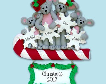 Merry Mouse Family of 4 HANDMADE Polymer Clay Personalized Christmas Ornament