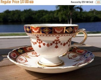 ON SALE Rosina Tea Cup and Saucer, English Bone China Footed Teacup 13820