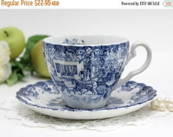 ON SALE Johnson Bros, Coaching Scenes, Bone China, Vintage Teacups, Tea Cup and Saucer, Porcelain Cups 13206