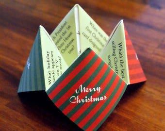Christmas Cootie Catcher, Christmas Decoration, Christmas Favor, Christmas Card, Holiday Party, Holiday Card, Invitation, DIY, Printable