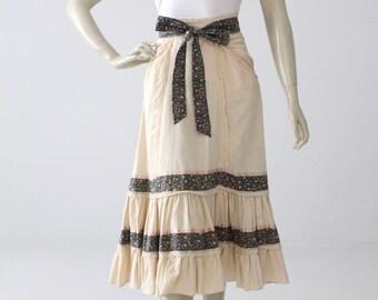 Gunne Sax skirt, vintage Jessica's Gunnies skirt, 1970s boho prairie skirt