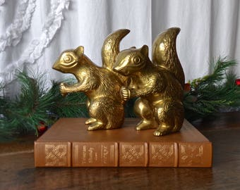 Vintage Brass Chipmunk Bookends Library Bookshelf Office Decor 1970s