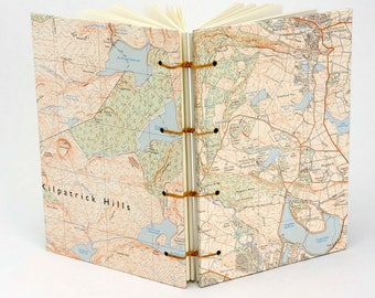 Dunbartonshire Journal, Reclaimed Map Notebook, Travel Journal, Glasgow area Map Journal, Scottish Notebook, Sketchbook
