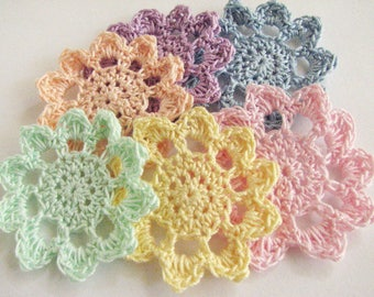 Thread Crochet Flowers - Flat Flowers in Pastel Colors - 6 Total