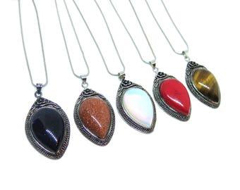 "Silver Gemstone Pendant Necklace - 15.7"" Chain"