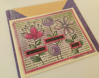 Handmade card,  greeting card, Inspire card, note card, mixed media card, handmade card, little girl card with bird, seam binding card