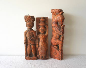 Antique Painted Art Figures Teak Old Sculpture Set of Three Horse Woman Man Collectibles