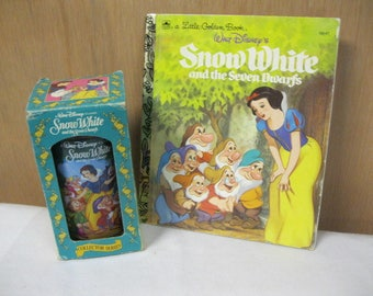 Snow White and the Seven Dwarfs Collector Set Walt Disney Classic Childs Book and Glass in Original Box Fun Gift Set for Child or Collector