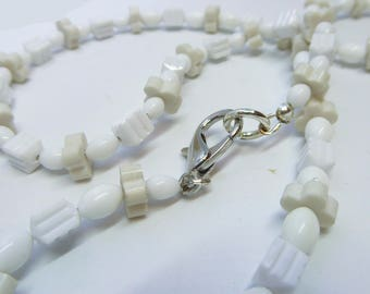 Assorted Shapes of White Beads Necklace