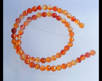 Red Agate Gemstone Faceted Loose Bead,1 Strand,38.5cm In The Length,6mm,19.8g(SET001)
