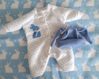 "3 Pc Blue Bunny Sleeper Set  For 8""-9"",  mini dolls. Doll Clothes"