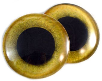 40mm Extra Large Yellow Owl Glass Eyes Pair for Jewelry Making or Art Doll Sculptures Big Eyeball Flatback Domed Circle Cabochons