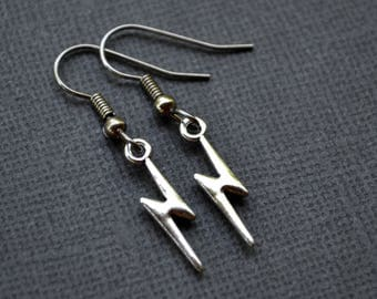 Small Silver Lightning Bolts . Earrings